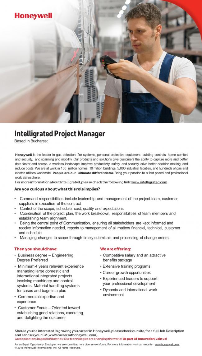 Intelligrated Project Manager - Honeywell